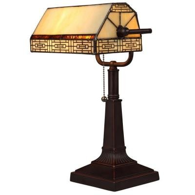Banker's 16.25 in. Oil Rubbed Bronze Desk Lamp with CFL Bulbs and Vintage Tiffany Style Shade by Hampton Bay