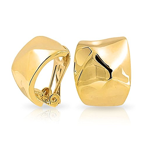 Geometric Hammered Dome Half Hoop Clip On Earrings For Women Non Pierced Ears Polished 14K Gold Plated Brass