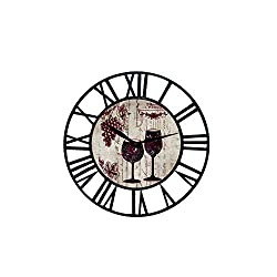 Upuptop Farm House Wall Clock with Wine Chateau Design Theme and Black Iron Frame Chic Style Clock Home Decoration Rustic Wall Clock for Home, Kitchen 16 Inch