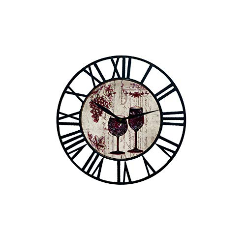 superbus Farm House Wall Clock with Wine Chateau Design Theme and Black Iron Frame 16 inch (Wine Clock)