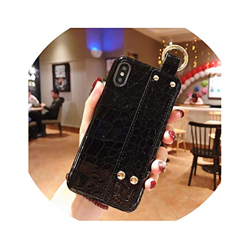 Luxury Green Sequins Crocodile Skin Case for iPhone X 7 8 Plus Xr Leather Hard Cover for iPhone Xs Max Case 7 6S Plus Wrist Band,5 Only Case,for iPhone 7Plus