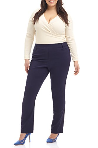 Navy Slacks Blue Pants Dress (Rekucci Curvy Woman Ease in to Comfort Straight Leg Plus Size Pant w/Tummy Control (18W,Navy))
