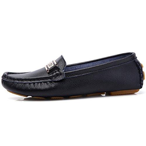 Roseunion Ladies Casual Slipper Mocassino Scarpe Da Barca Mocassini In Pelle Scarpe Flat Driving Low Heels Black