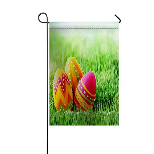 Happy Easter Day Garden Flags+Decorative Courtyard Seasonal Flag House Banners for Home Indoor Outdoor Welcome Holiday Yard Flags Grassland Colorful Eggs 12x18inch -