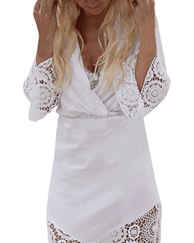 StyleDome Womens Lace Crochet Hollow Out Deep V Neck Bikini Long Maxi Dress