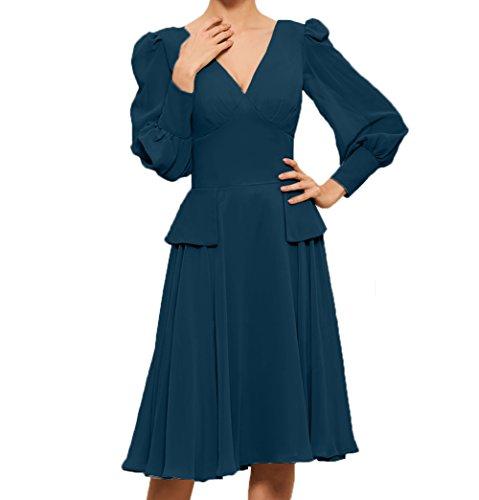 Dunkel A Brautmutterkleider V Langarm Damen Linie Partykleider Promkleider Abendkleider Knielang Charmant Ausschnitt Blau qPOxwf6Hw