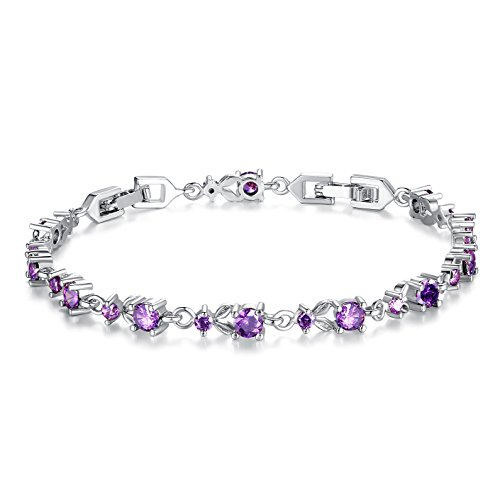 January Birthstone Bracelet (Bamoer Luxury Slender White Gold Plated Bracelet with Sparkling Purple Cubic Zirconia Stones)
