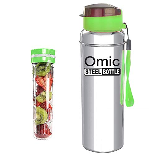 Omic Stainless Steel Fruit Infuser Water Bottle, Stainless Steel Bottle with Infusion Unit, (Color May Be Vary) (1000ml)
