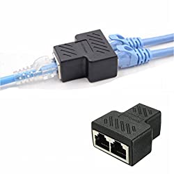 RJ45 Splitter Connector,1 to 2 Ways RJ-45 interface Splitter Ethernet cable Socket Adapter 8P8C HUB Network LAN Internet PC laptop router contact Modular plug For Cat5 Cat5e Cat6 Cat7 Ethernet cables