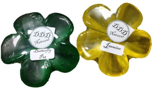 DDD Natural - Handmade Plumeria Flower Shaped Aromatic Soap 2 Pieces - Jasmine & Butterfly Pea