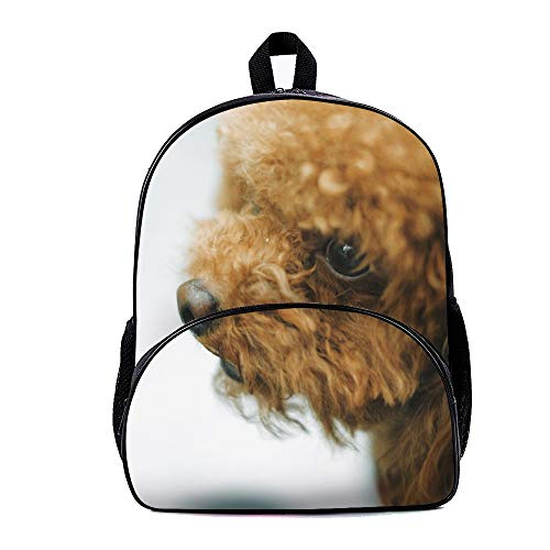 (Mesllings Adult Brown Apricot Toy Poodle Casual Style Lightweight Backpack School Bag Travel Holiday Gift Daypack For Boys And Girls)