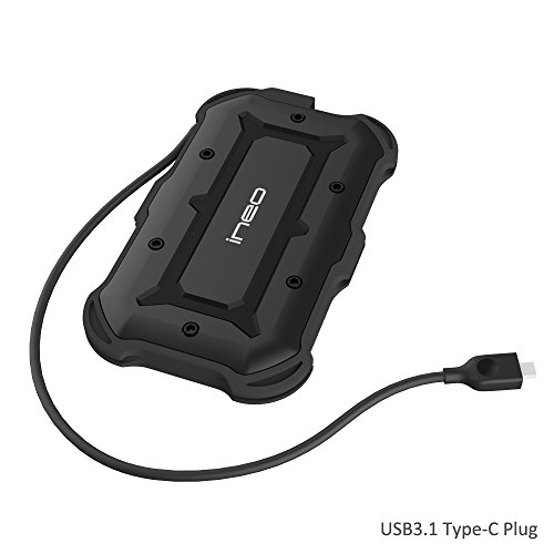 USB3.1 Type C to SATA III Rugged Hard Drive Enclosure - ElecGear 2.5 inch USB C Portable External IPX6 Waterproof, IP6X Dust-proof Shock-resistant Military Drop Tested HDD SSD Caddy Adapter (Shock Resistant Portable Hard Drive)