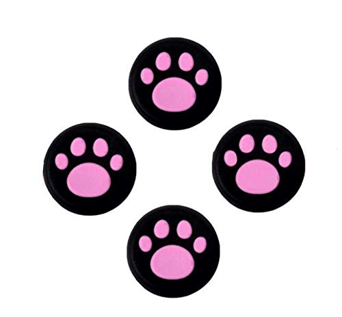 Analog Silicone Joystick Joy Stick Grips Cap Cover Thumbstick Thumb Stick Grips Cap Cover for PS4 PS3 Xbox one Xbox 360 PS2 Controller (4 x Pink Cat Dog Paw)