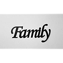 Family Word Sign Monotype Font Home Decor Metal Wall Art
