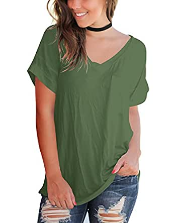 Aokosor Women's Casual Short Sleeve Solid Knits Shirts Cotton Tunic Blouse Tops Army Green S