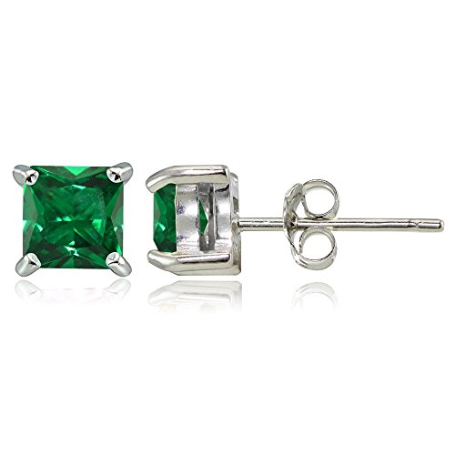 Sterling Silver Created Emerald 5mm Square Stud Earrings