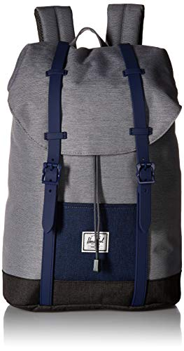 Herschel Kids' Retreat Youth Children's Backpack, Mid Grey Medieval Blue Black Crosshatch, One Size