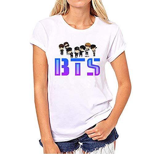 Cuello Túnica Blusas Manga Camisas Mujer Bts Top Camisetas Redondo Impreso A16 Poleras Corta Deportiva Ocasionales Remeras Cómodo FP4wxAf