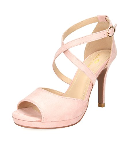 DREAM PAIRS Women's GAL_10 Pink Fashion Stiletos Heeled Sandals Size 8 B(M) US