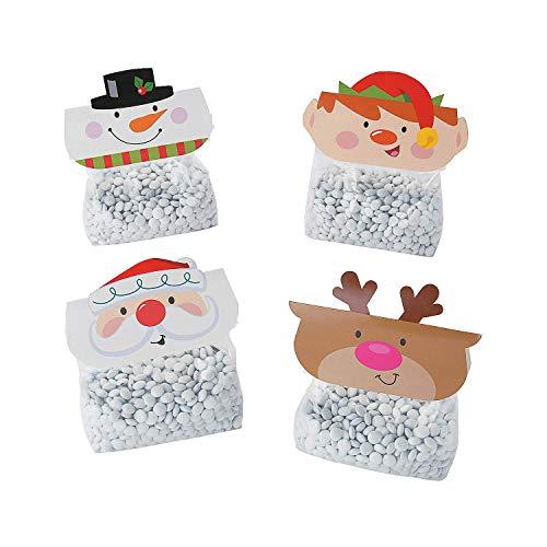 Fun Express Christmas Holiday Treat Bag and Topper Kit Variety Pack - 4 Designs: Snowman, Santa, Elf, Reindeer -