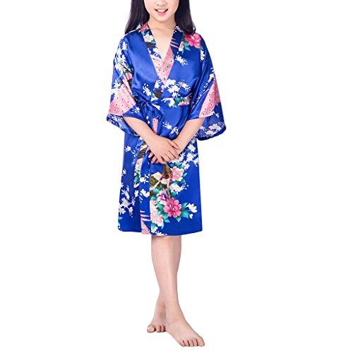Niña Pavo Real y Flores Satén Kimono Albornoces Pijamas Lencería Lingerie Camisón Camiseta Vestido Niños Chicas Satinado Camisones Noche Vestidos Bata Ropa de Dormir, 10+ Color Opcional, 6-14 Años Sapphire