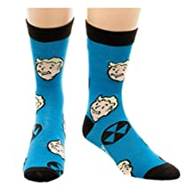 Fallout Vault Boy Crew Socks Blue Mens Adult Video Game Christmas Gift Size 8-12