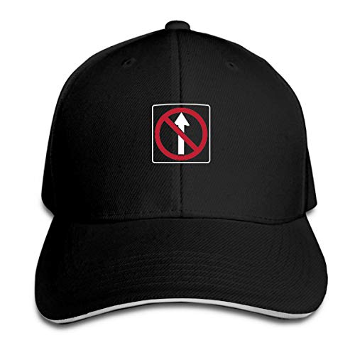 No Straight Through Funny Traffic Sign Baseball Hat Adjustable Side Unisex Black (Chris Chrisley Knows Best)