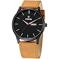CUCOL Men's Watch Minimalist Style Swiss Quartz Time and Date Analog Brown Leather Band White Pointer