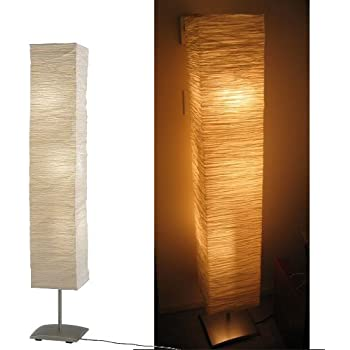 Modern Rice Paper Shade Asian Floor Mood Lamp, 3 Warm Led