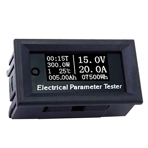 Electrical Ammeter - Gloryelenxs 100V 20A 7in1 OLED Multifunction Tester Voltage Current Time Temperature Capacity Voltmeter Ammeter Electrical Meter