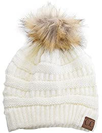 Soft Stretch Cable Knit Ribbed Faux Fur Pom Pom Beanie Hat