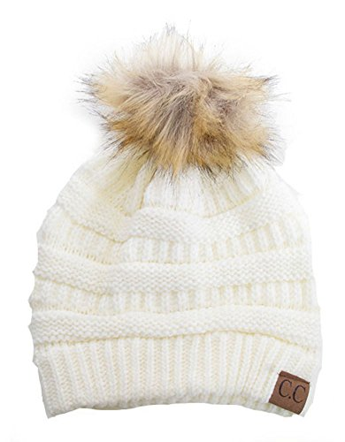 Soft Stretch Cable Knit Ribbed Faux Fur Pom Pom Beanie Hat (Ivory)