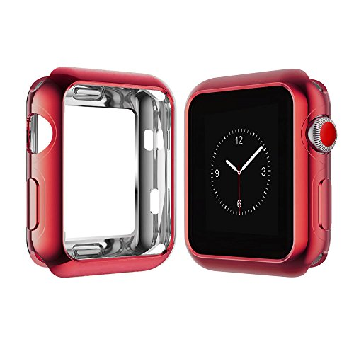 Weite Scratch-Resistant Soft Flexible TPU All-Around Protective Case, High Definition Clear Ultra-Thin Cover Compatible Apple Watch Case 42mm Iwatch Series 2/3 (Red) by Weite (Image #6)