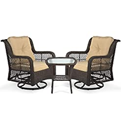 Garden and Outdoor Aoxun 3-Piece Rocking Rattan Chair Outdoor, Patio Bistro Furniture Sets Clearance, 2 Cushioned Swivel Wicker Chair with…