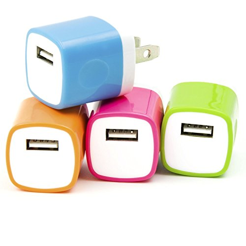 Spark Electronic 4 PC Dual Color 2-Tone Universal USB Travel Home 1.0 AMP Power Adapter Wall Charger Plug for iPhone 7/7 plus 6/6 plus 5S 5 Samsung Galaxy S5 S4 S3 HTC One M8 LG G2 G3 L2