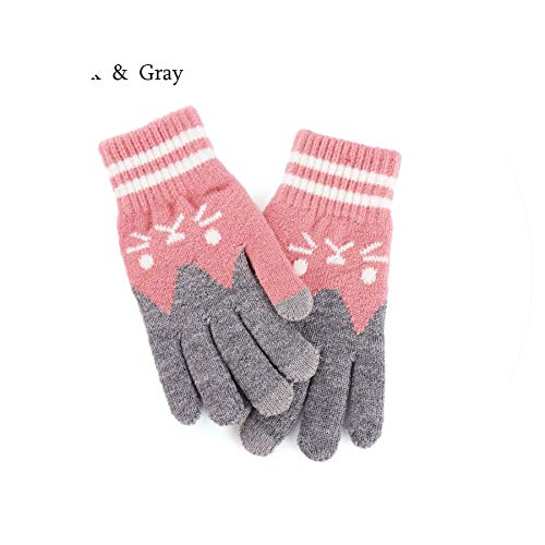 Lovely Gloves Women Girl Cute Cartoon Cat Printed Wool Knitted,Pink Gray (Mittens Gore Stretch)