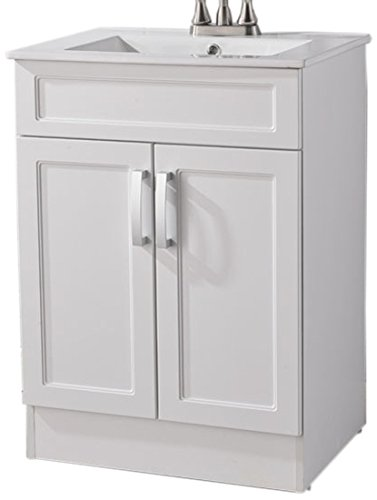 Heselian Modern Single Bathroom Vanity with Ceramics Sink, Include 2 Doors, White by Heselian