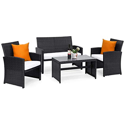 (Goplus 4-Piece Rattan Patio Furniture Set Garden Lawn Pool Backyard Outdoor Sofa Wicker Conversation Set with Weather Resistant Cushions and Tempered Glass Tabletop (Black))
