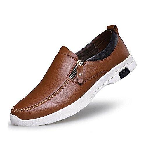 formal Mocasines planos de Brown Zapatos trabajo cuero de Zapatos casuales Zapatos casuales para hombres xwPAvZFHq