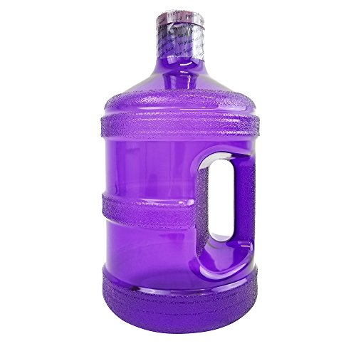 1 Gallon BPA FREE Reusable Plastic Drinking Water Big Mouth Bottle Jug Container with Holder - Dark Purple - Ideal for Alkaline Water