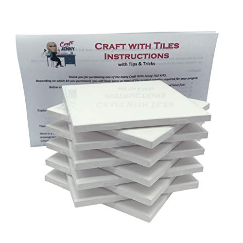 (Coaster Tile Craft Kit, Set of 10 Ceramic White Tiles 4x4, with Detailed Instructions Plus Tips and Tricks, DIY Make Your Own Coasters, Mosaics, Painting Projects, Decoupage)