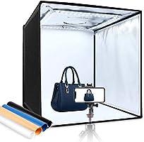 Amzdeal Photo Studio, Kit Studio Photo 60 * 60 * 60 cm Portable et Pliable, LED Éclairage Lumière du Jour 5000LM 5500K,...