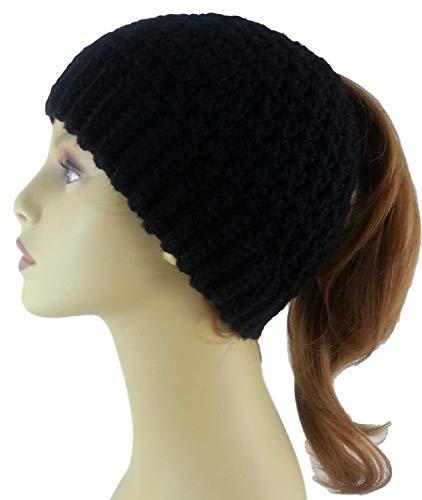 Amazon.com  Black Ponytail Hat Merino Wool Womens Messy Bun Beanie Handmade  in USA  Handmade c16d6573f93