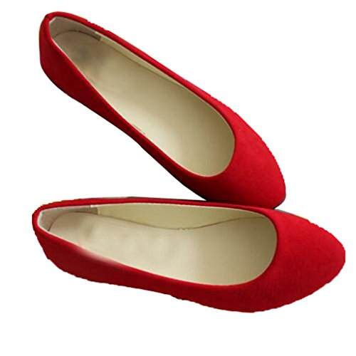 Dear+Time+Women+Flat+Shoes+Comfortable+Slip+on+Pointed+Toe+Ballet+Flats+Red+43
