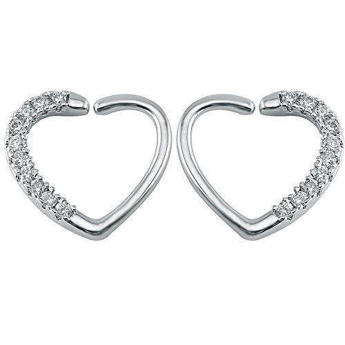 16g Clear/Pink Cubic Zirconia Heart Surgical Steel Daith Tragus Cartilage Earring piercing (Clear)