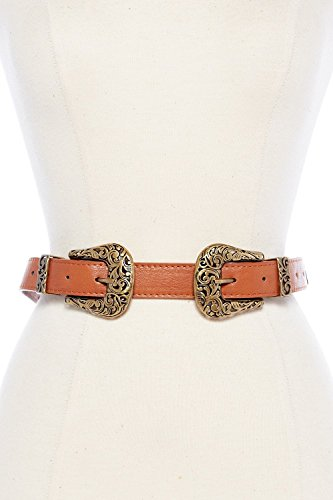Womens Narrow Double Western Vintage Buckle Fashion Belt IW2801 (One Size, Tank/Old Gold)