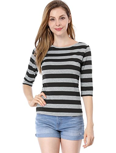 Allegra K Women's Elbow Sleeves Contrast Color Stripes Top XL Black -