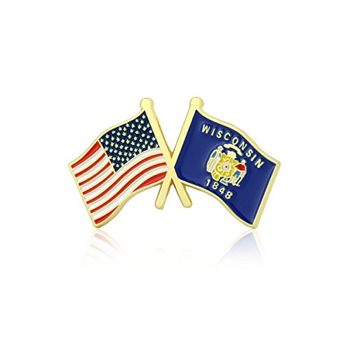 GS-JJ American and Wisconsin State Crossed Friendship Flag Enamel Lapel Pin (1 Piece)