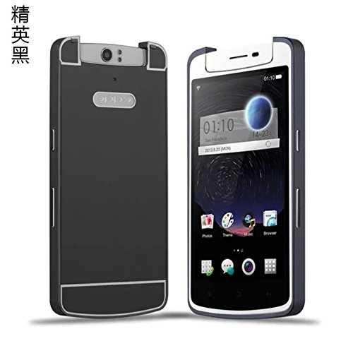 DAYJOY Luxury Armor Shield Ultra Thin Aluminum Alloy Protective Metal Frame Bumper case With Acrylic Plastic Back Cover Shell + 1PC tempered glass screen protector film for OPPO N1 (BLACK)