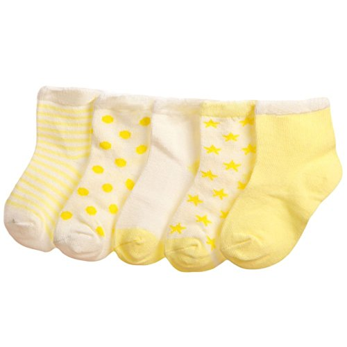 Baby Boy Girl Socks 5 Pack Cotton Sock Set Toddler/Kid 3-5t M yellow from LOSORN ZPY